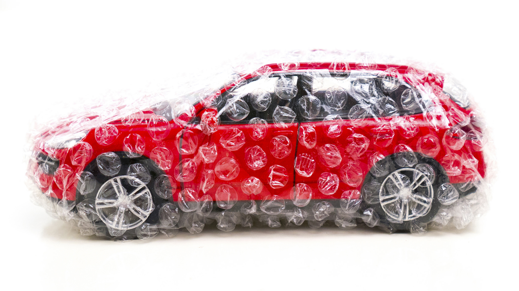 car wrapped in bubble wrap